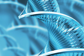 Blue 3D DNA Helix Wallpaper in Laboratory