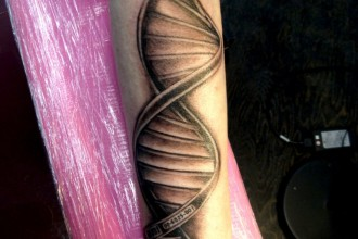 Dna Helix Tattoo in Laboratory
