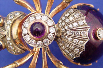 Faberge Spider Brooch in Birds