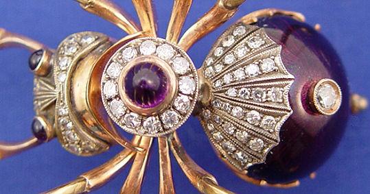 Spider , 7 Faberge Black Widow Spider Brooch : Faberge Spider Brooch