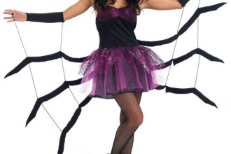 Ladies Black Widow Spider Halloween Fancy Dress Costume in Skeleton