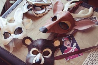 Leather Forest Animals Masks in Plants