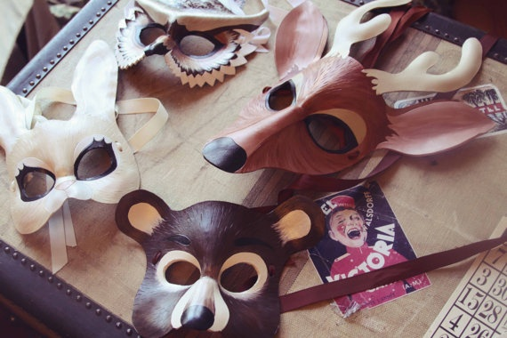 Animal , 6 Rainforest Animal Masks : Leather Forest Animals Masks