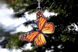 Monarch Butterfly necklace in Birds