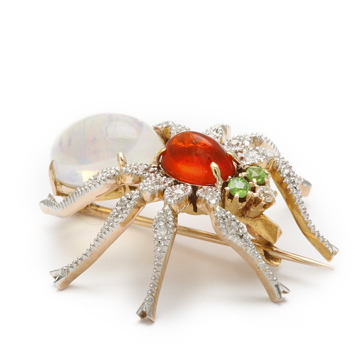 Spider , 7 Faberge Black Widow Spider Brooch : Spider Pin Brooch