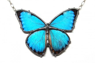 Blue Morpho Butterfly Necklace in Birds