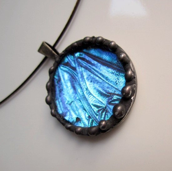 Butterfly , 7 Blue Morpho Butterfly Necklace : Blue Morpho Real Butterfly Wing Jewelry