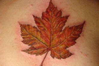Canadian Maple Leaf Tattoo in Skeleton