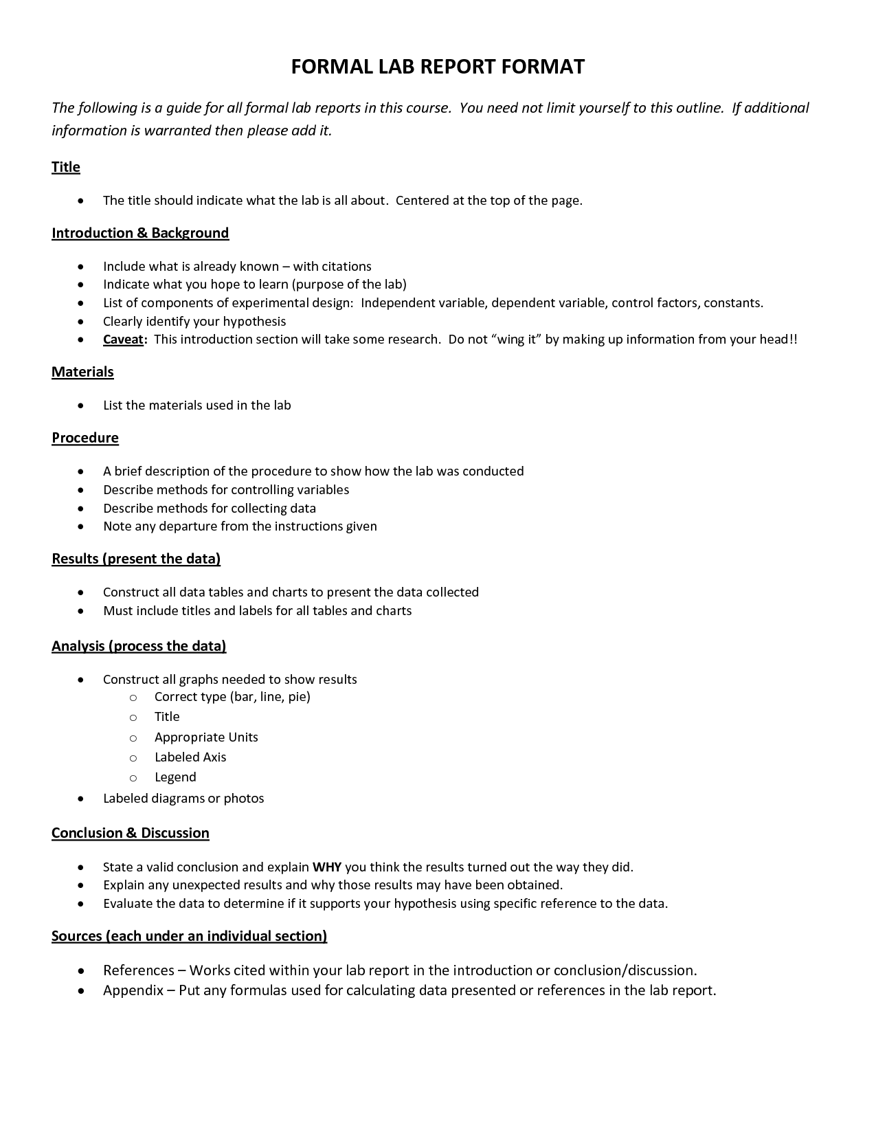 Formal Lab Report Format 7 Formal Lab Report Template – Lab Report Template