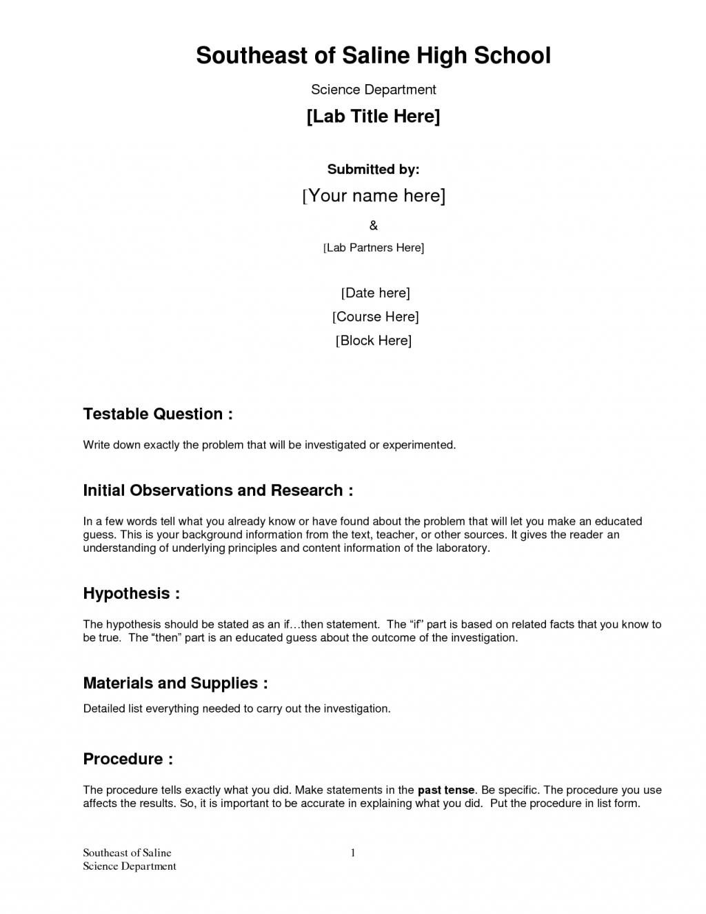 Chemistry lab report custom report