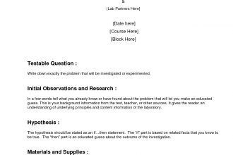 Formal Lab Report Template in Invertebrates