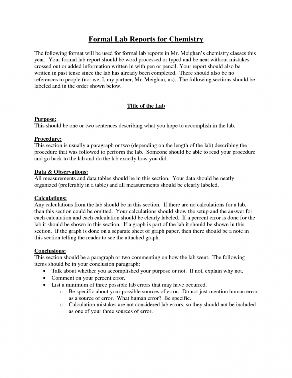 Formal lab report sample