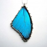 Large Blue Morpho Butterfly Necklace , 7 Blue Morpho Butterfly Necklace In Butterfly Category