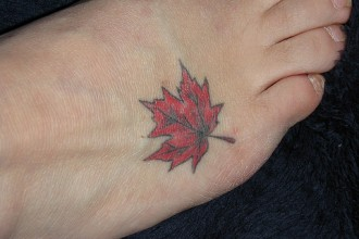 Maple Leaf Tattoo in Skeleton