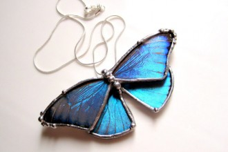 Real Blue Morpho Butterfly Necklace , 7 Blue Morpho Butterfly Necklace In Butterfly Category