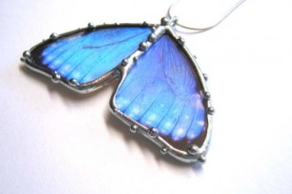 Two Wing Blue Morpho Butterfly Necklace , 7 Blue Morpho Butterfly Necklace In Butterfly Category