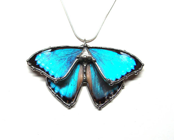 Butterfly , 7 Blue Morpho Butterfly Necklace : Blue Morpho Butterfly Jewelry