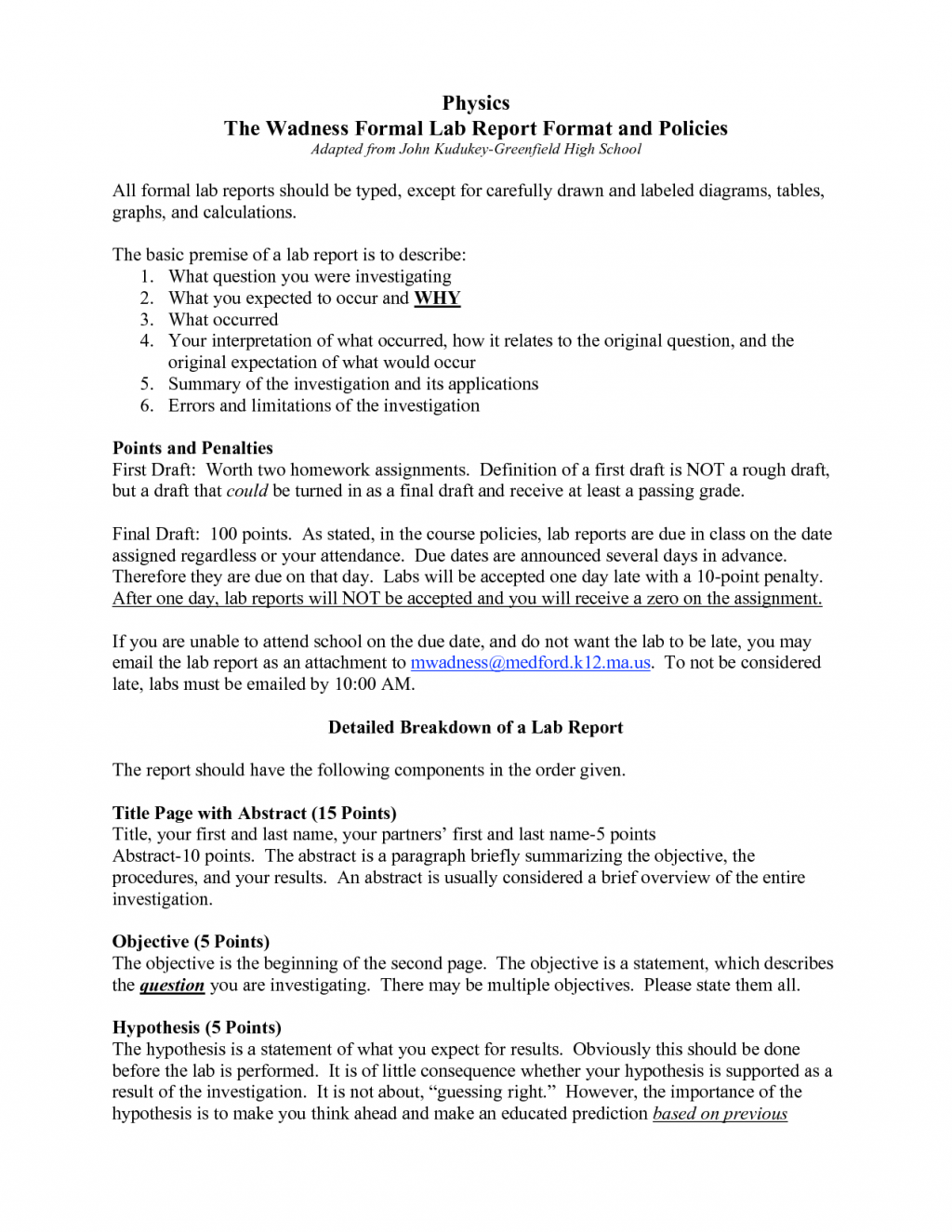 scientific report templates