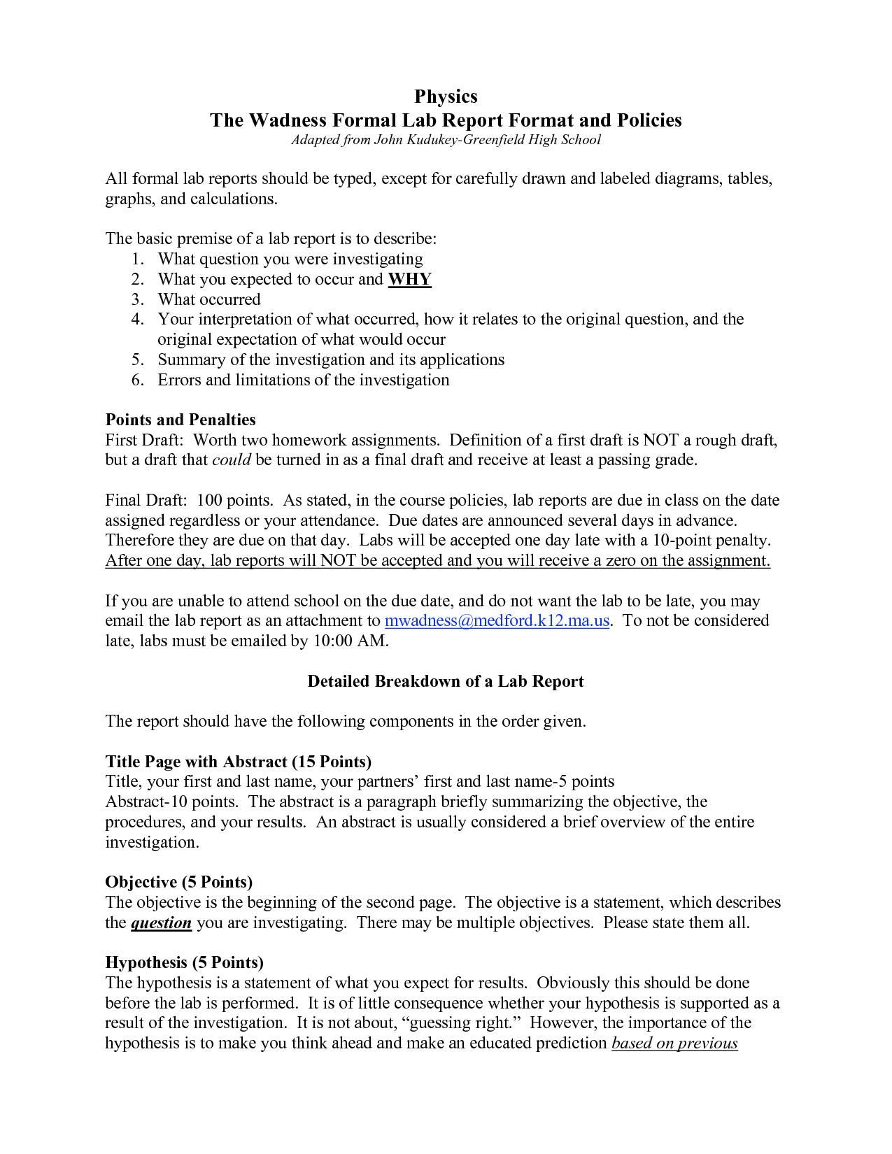 lab report template – Formal Report Template Word