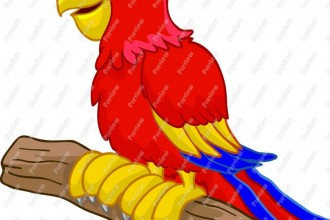 Cartoon Parrot in Plants