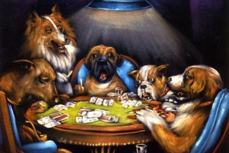 dogs playing poker in Beetles