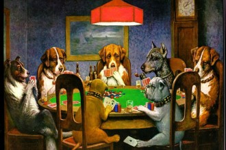 dogs playing poker in Skeleton