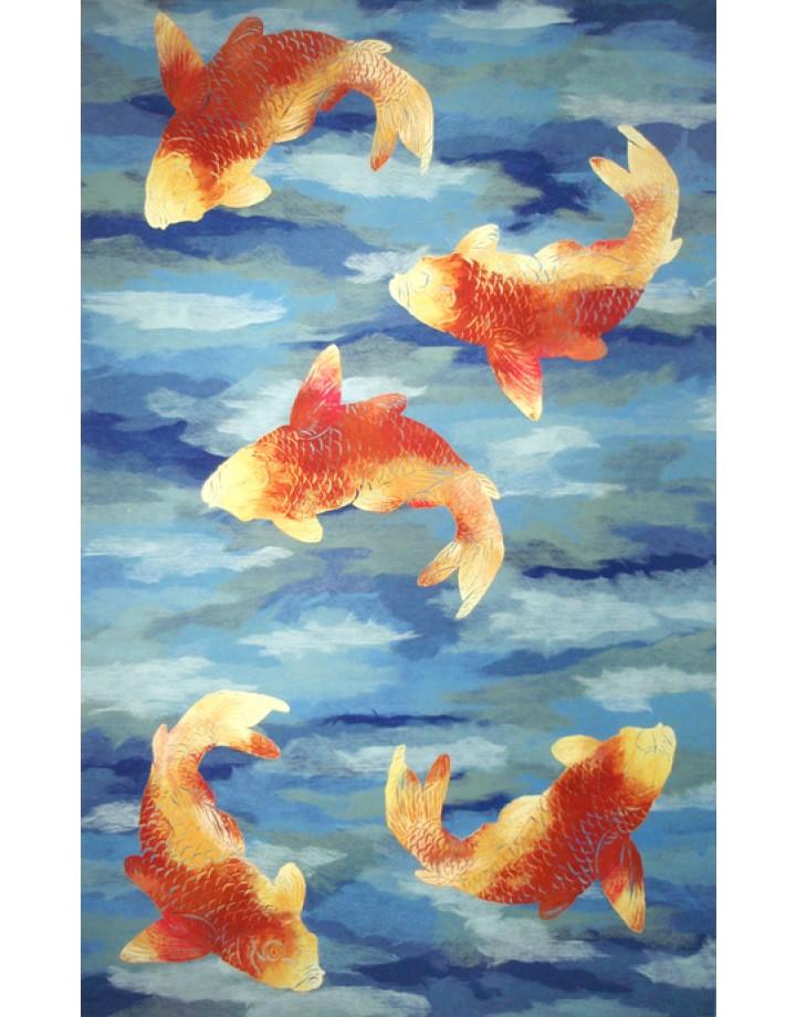 pisces , 9 Charming Koi Fish Rug : Designer Rug