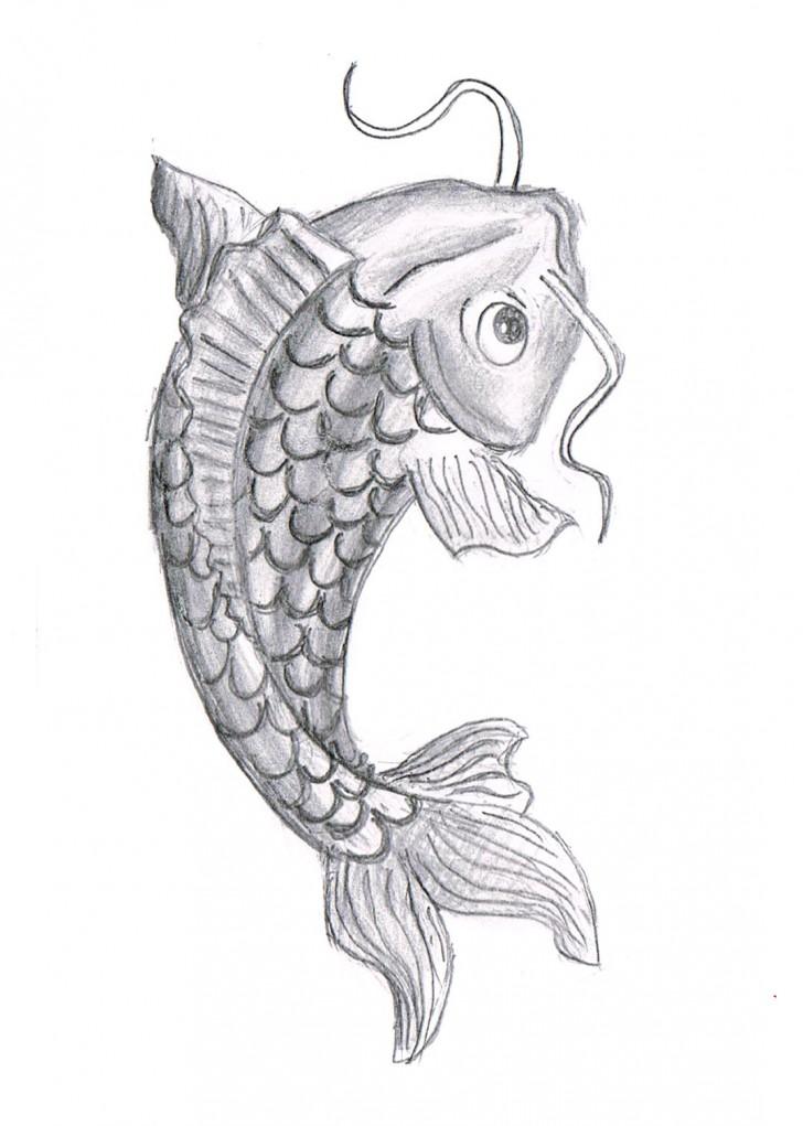 pisces , 8 Good Koi Fish Drawings : Koi Fish Drawing