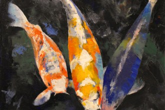 koi fish pond in Muscles