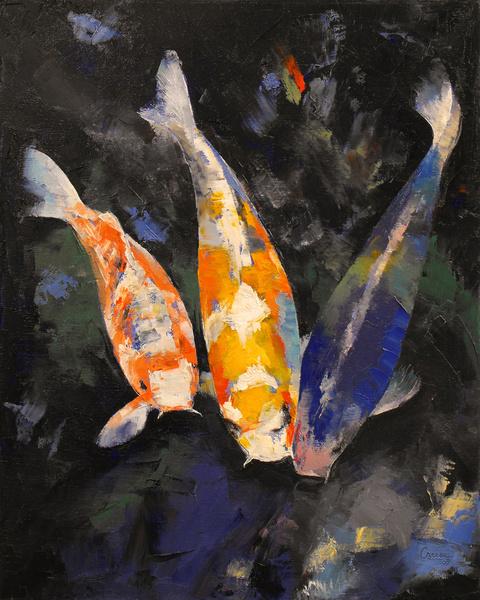 pisces , 5 Beautiful Koi Fish Prints :  Koi Fish Pond