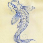 koi fish sketch , 8 Good Koi Fish Drawings In pisces Category