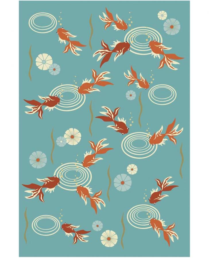 pisces , 9 Charming Koi Fish Rug :  Koi Pond Design
