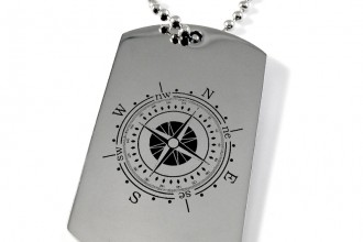 Compass Dog Tag in Birds