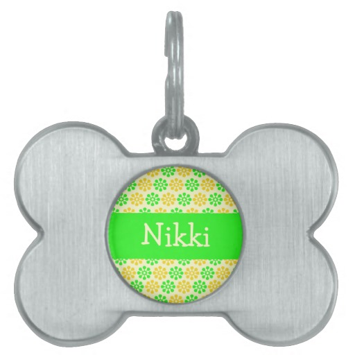 Dog , 8 Amazing Personalized Dog Tags With Pictures : Yellow Flowers Personalized Dog Tag